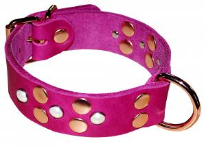 Exclusive Dog Collar made from soft leather with real Swarovski pearls - pink